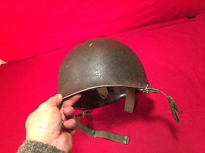 WW2 US Army USMC M1 steel pot helmet front seam swivel bale W liner