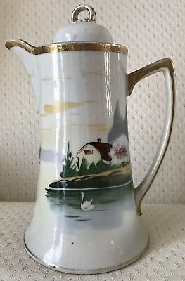 Antique NIPPON Chocolate Pot - SWAN on LAKE motif - HAND PAINTED - #10