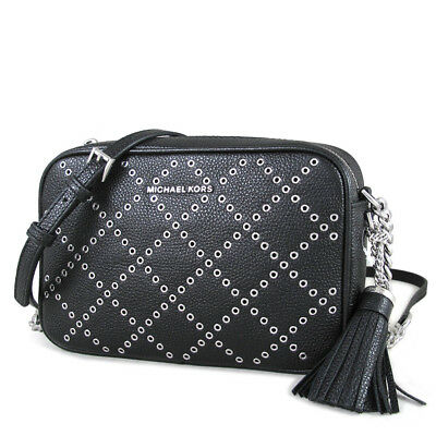 9e98c090f88e MICHAEL KORS GINNY Grommeted Leather Crossbody - Black   Silver ...