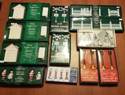 Department 56 Lighted Accessories 12 Piece Lot - Snow Village
