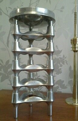 5 Nagel Vintage Chrome Candleholders and Candle Bowl