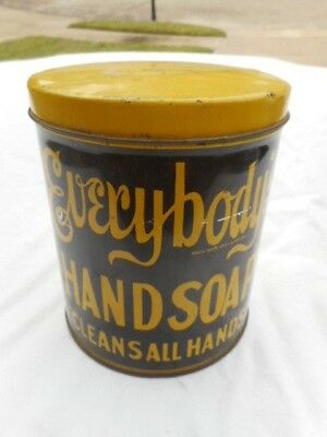"Vintage Everybody's Hand Soap ""CLEANS ALL HANDS""  3 Lb. Advertising Tin"