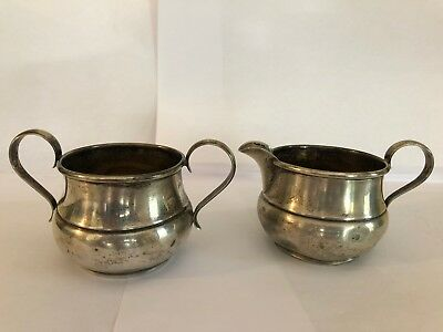 Gorham Sterling Silver Creamer & Open Sugar Bowl Set #682 #683