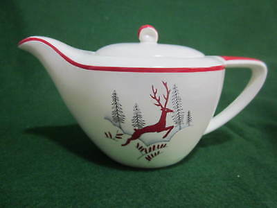 Vintage 1950's Crown Devon Stockholm Red Leaping Deer Tea Pot