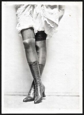 C. 1920s Jazz-Age Charles Sheldon Fox Shoes Advertising Photograph Lace-Up Boots