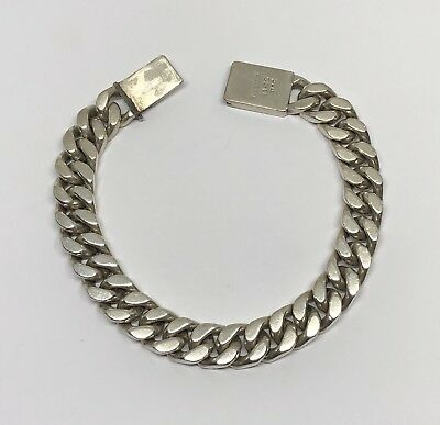 Vintage Heavy Taxco Mexico Sterling Silver Cuban Link Bracelet 8.4""