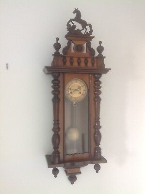 Large Old Wooden Wall Clock