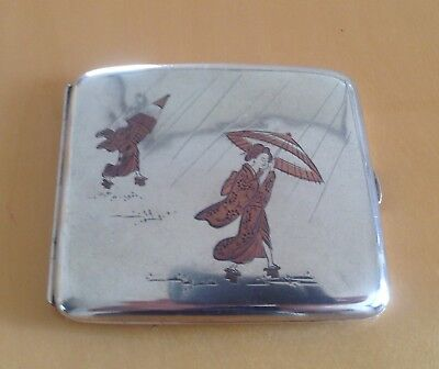 UNUSUAL RARE SOLID SILVER JAPANESE CIGARETTE CASE, 1930s, SIGNED, GEISHA GIRLS.