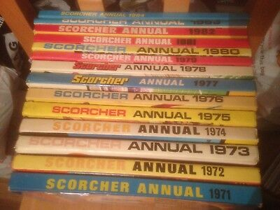 Scorcher Comic Annuals 14 Editions  1971-1984 Good Condition