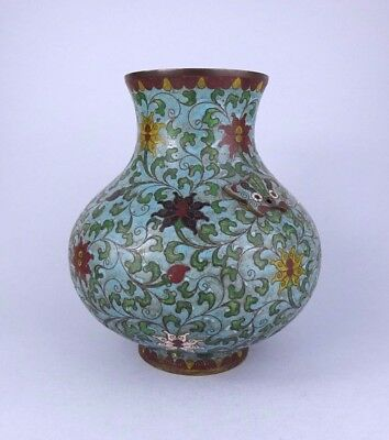 Large Chinese Cloisonne Vase With Lotus Flowers