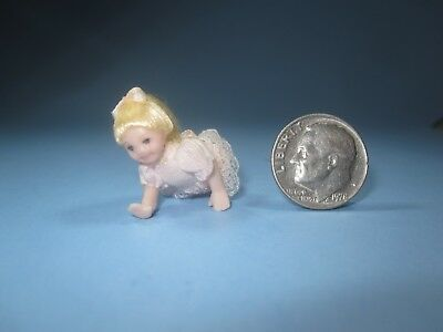 Dollhouse Miniature Vintage Porcelain Crawling Baby Jointed Child's Doll