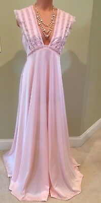 "Vtg LILY OF FRANCE Shiny Pink NYLON NIGHTGOWN Dress 144"" Sweep Sissy 36/38"