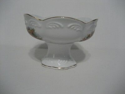 Marcella Porcelain Collection-White/Gold Gilt/Floral Bouquets-Pedestal Bowl-IOB