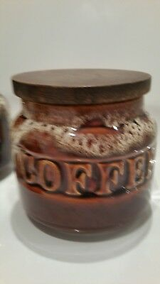 vintage fosters coffe storage jar with wooden lid Honeycomb