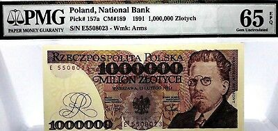 MONEY POLAND 1,000,000 ZLOTYCH 1991  NATIONAL BANK GEM UNC PICK #157a  RARE