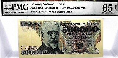 MONEY POLAND 500,000 ZLOTYCH 1990 NATIONAL BANK PMG GEM UNC PICK #156a RARE