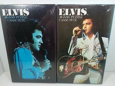 New Lot of 2 Elvis Presley 1935-1977 jigsaw cassette puzzles 1978 sealed 11x17