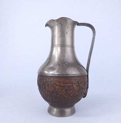 antique Chinese pewter and coconut jug