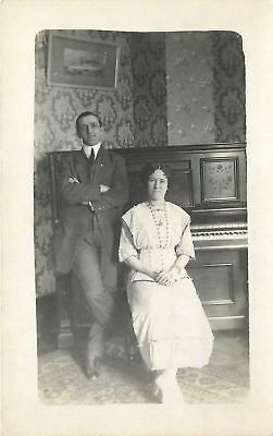 Real Photo Postcard~Pair in Front of Malcom Love? Piano~Ship Print~Wallpaper~'13
