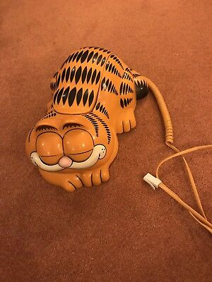 Vintage Retro 1980s Garfield Corded Telephone Eyes Open And Close