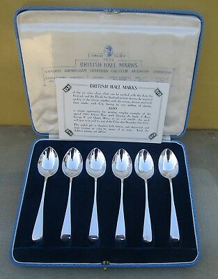 Good cased set 6 British cities George V Sterling silver spoons, 68 grams