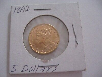 1892 $5 Gold Eagle Liberty Half Dollar