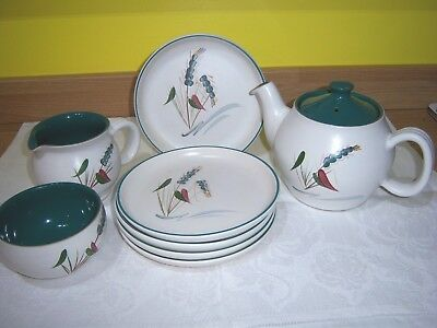 Denby 'green Wheat' Part Tea Set Signed By 'a College'
