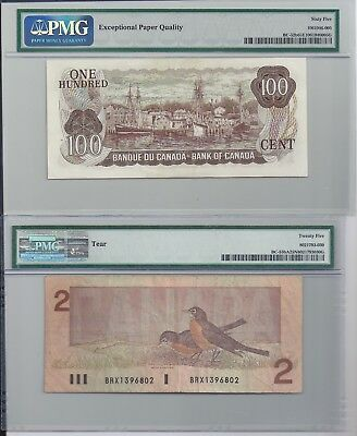 Two notes: BC-52b 1975 $100 and BC-55bA 1986 $2. BOTH are PMG certified!