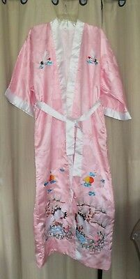 Vintage Lined Pink Brocade Satin Japanese Kimono Long Robe w/ Embroidery Sz L