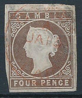 [51106] Gambia 1869 Very good Used VF stamp $275 (no wtmk)(2 pics in desc.)