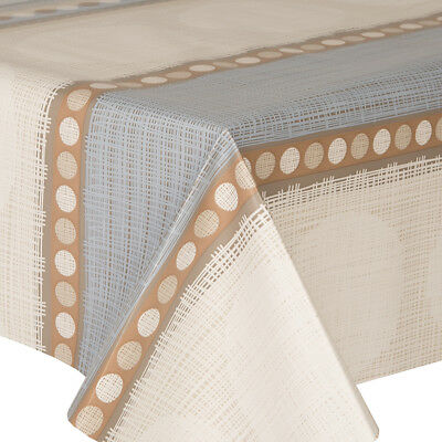 Pvc Table Cloth Oasis Blue Geo Circle Stripe Lines Beige Mink Cream Wipe Able