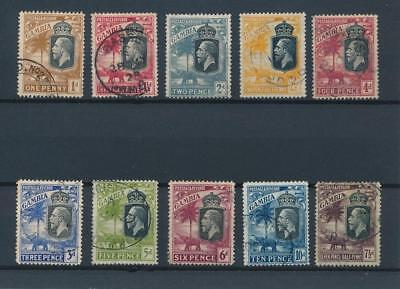 [51180] Gambia 1922 good lot Used Very Fine stamps (multiple script CA)
