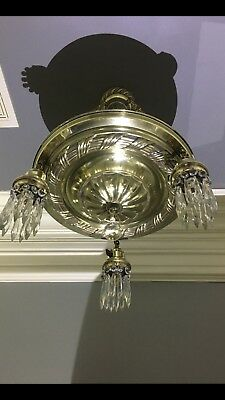 Beautiful Restored 1920's Antique Brass and Crystal Pan Chandelier