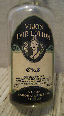 Vintage Beauty Advertising-VIJON HAIR Care LOTION-Glass Bottle Jar-St. Louis MO