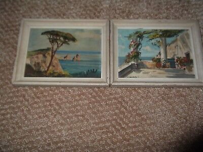 old vintage  painting of Capri Italy pair seascape two rare paintings done well