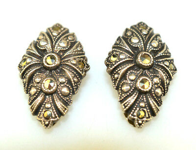 Antique Pair Of Art Deco Sterling Silver Marcasite 1 Inch Dress Or Shoe Clips