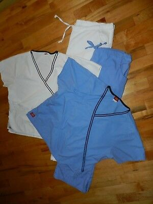 Dickies Scrubs Clean White and Blue Pants and Tops M P Lot