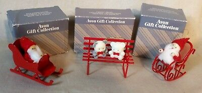 Avon Gift Collection 2 Frolicking Santas and Teddy Bear Christmas Tree Ornaments