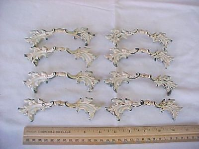 8 Vintage Ornate Brass Painted Drawer Pulls R-772