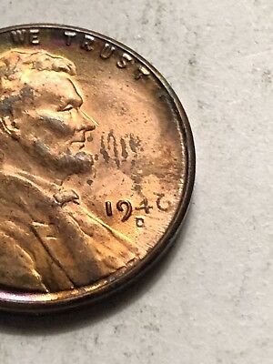 1946-D Lincoln Wheat Penny Obverse Struck Through Grease Mint Error Coin Lot M21