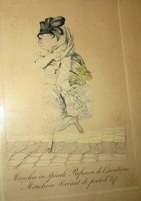 Antique Circa 1810 Framed French Fashion Engraving Picture