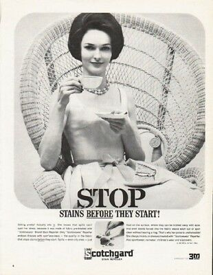 "1962 Scotchgard Stain Repeller Ad ""before they start"""