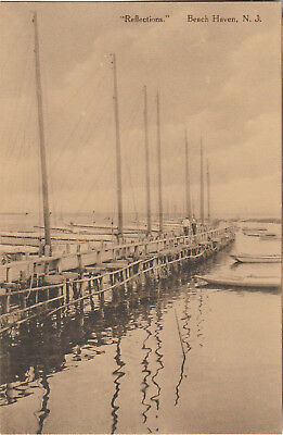 "S21.1132 Vintage Unused RPPC Postcard Beach Haven, NJ ""Reflections"" c. 1910-1920"