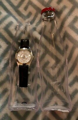 Coca-Cola Watch in Coke Shaped Clear Bottle NEW Leather Band Silver Gold Face