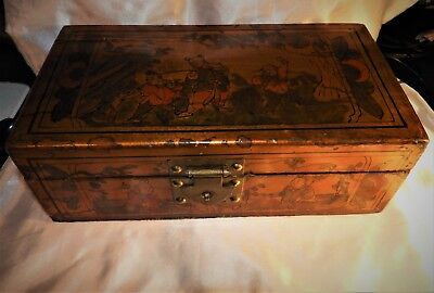 Antique Chinese Wooden Gold Laquered dovetail painted Box
