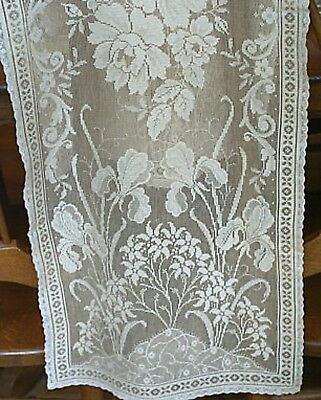 Antique Vintage Italian Lace Table Runner Scarf - Ecru - 39 X 14 - Floral