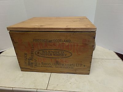 Vintage Ambassador Scotch Whiskey Advertising Wood Crate W/ Top & Rope Handles