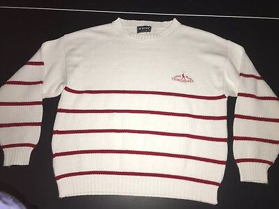 Vintage Johnnie Walker Striped Sweater White/Red Large