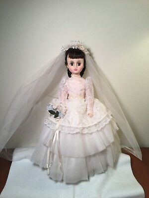 Madame Alexander Elise Bride Doll dress lace vtg corsage veil 1960's brunette