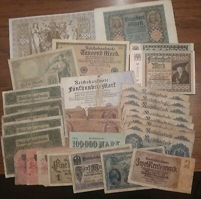 Lot of 30 German Bank Notes various years Empire & Weimar mostly